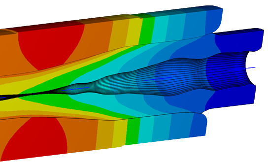 Heat simulation on tool for shaping of polymer